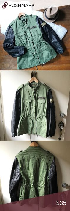 Olive green military style jacket This jacket is the perfect military style jacket with faux leather sleeves and patch details.  Excellent condition.  In my opinion best fit size large or xl, adjustable waist. Some of the gold buttons have small discoloration however is not extremely noticeable. No trades MYNT 1792 Jackets & Coats Utility Jackets