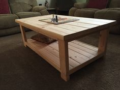 2x4 Base With 2x6 Top Rustic Coffee Table.