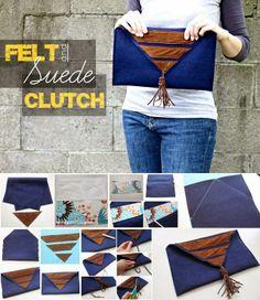 Felt and Suede Clutch - DIY Stuff