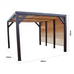 Pergola en bois Veneto - Ventelles amovibles - Best Picture For Pergola bois For Your Taste You are looking for something, and it is going to te - Pergola Patio, Pergola Shade, Backyard Patio, Backyard Landscaping, Gazebo, Wooden Pergola, Backyard Shade, Metal Pergola, Patio Canopy