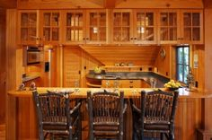 Woodland Point Carriage House Living Room - traditional - kitchen - other metro - Carl Vernlund Small Log Cabin, Little Cabin, Pass Through Kitchen, Log Cabin Kitchens, Rustic Basement, Rustic Kitchen, Kitchen Ideas, Kitchen Redo, Kitchen Designs