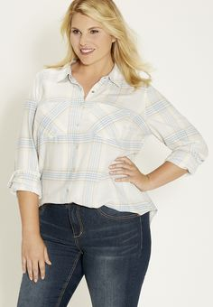 plus size button down shirt in light plaid - #maurices