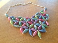 Multicolour paper beads necklace by MagdaCrafts on Etsy, £35.00