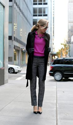d+tweed+check+herringbone+slim+straight+pants+leather+waistband+trim+details+fuchsia+magenta+pink+bright+j+crew+crewneck+sweater+knit+house+of+harlow+leather+geometric+collar+necklace+black+pointed+toe+pumps+ralph+lauren+fashion+blog+work+office+style.jpg 640×1,084 pixels