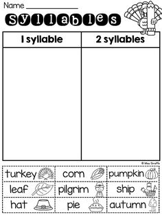 Thanksgiving words syllable sort with picture help! Love this! Great activities and worksheets here
