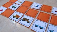 """Memory game Cars """"In The Hoop"""" - machine embroidery appliqué design - for hoop 4x4, 5x7 and 6x10. $4.99, via Etsy."""
