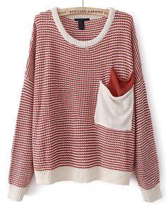 Jersey punto rayas bolsillos manga larga-Rojo EUR€17.73