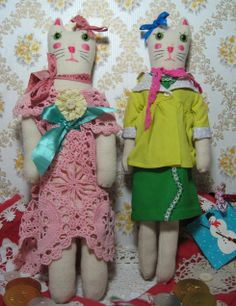 A pair of kitties made from vintage and re-cycled fabrics and notions by the super talented Sasha Cat Doll, Trendy Baby, Softies, Vintage Inspired, Creatures, Nursery, Kitty, Dolls, Artist