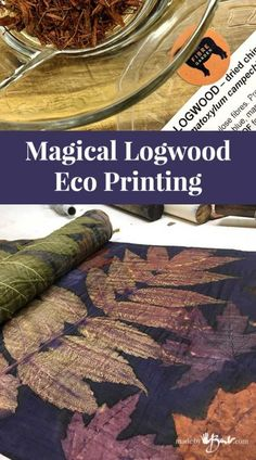 Magical Logwood Eco Printing - Made By Barb - dye from wood chips Be amazed at how this dye can make such amazing results. Eco printing with Logwood gives such magical results, such beautiful colours! Shibori, Natural Dye Fabric, Natural Dyeing, Fabric Painting, Fabric Art, Vinyl Fabric, Fabric Dyeing Techniques, How To Dye Fabric, Dyeing Fabric
