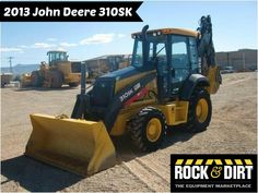 """Our Featured Backhoe is a 2013 John Deere 310SK, Cab w/ AC, Pilot Controls, 4x4 Powershift, Q/C, 24"""" Bkt, GP Bkt., 19.5 Tires, 377 Hrs. We have a great selection of Backhoes! You can view them all at: http://www.rockanddirt.com/equipment-for-sale/backhoes #RockandDirt #HeavyEquipment #Backhoes"""
