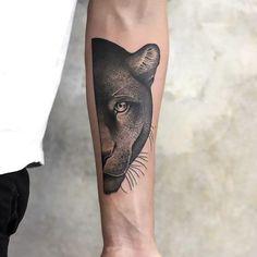 Cool Panther Half face Tattoo Idea