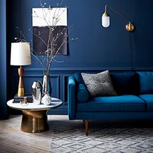 West Elm offers modern furniture and home decor featuring inspiring designs and colors. Create a stylish space with home accessories from West Elm. Blue Walls Living Room, Navy Living Rooms, House Interior, Blue Rooms, Dark Living Rooms, Blue Living Room, Room, Room Design, Room Decor
