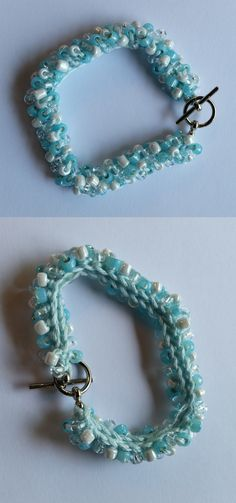 Crocheted Bead Bracelet Blue and white Czech Glass Beads handmade by Meander Canyon Crafts. Silver tone toggle clasp. Size small - 7 inches.