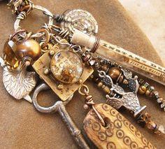 Mixed Media Treasure Necklace Antique Handmade by deserttalismans