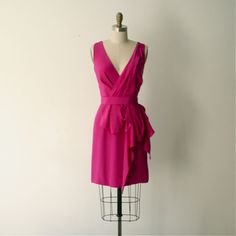 Crepe de Chine dress in Party Pink