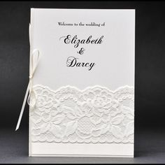 This lace ceremony or order of service cover will match any vintage wedding theme and looks great.  #laceorderofservice