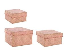 Set van 3 opbergdozen Leonie, roze