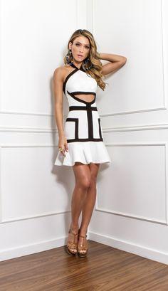 VESTIDO CREPE P&B - VE30033-OF | Skazi, Moda feminina, roupa casual, vestidos, saias, mulher moderna