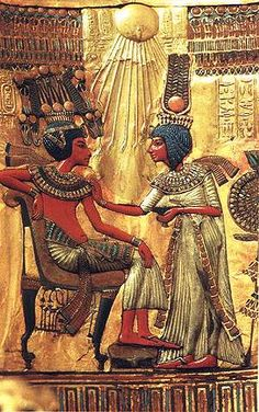 TOMB OF TUTANKHAMUN Shows boy-king as Ankh bearer with immortal heart freed of lungs so his 2 bronchial tubes can blow divine harmony behind his neck. Isis has blue hair and ostrich feathers. Blue is colour of feminine North magnetic pole at heart that becomes blue violet hue of ascension grace when suffused with the male magenta (Dogon headdress) colour of magnetic south that rises from tailbone. Sacred marriage or Hieros Gamos is a musical sound and light show with specific tones and…