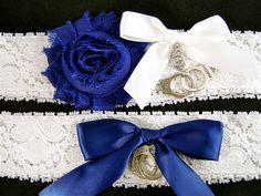Police Wedding Garter Set Dark Blue and White by StylishBride