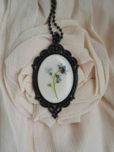 Unique Victorian Necklace Cameo Pendant Pressed Flower Memorial Necklace. Milk white blue green Forgetmenot black cameo dress accessory by MyJewelsGarden Flower Jewelry by Myjewelsgarden