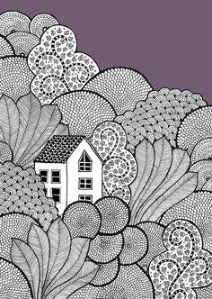 Easy Doodle Art, Doodle Art Designs, Doodle Art Drawing, Zentangle Drawings, Black Pen Drawing, Doodle Patterns, Zentangle Patterns, Zentangles, Mandala Art Lesson