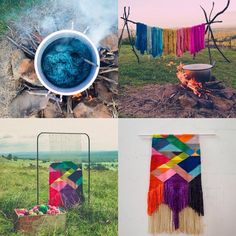 natalie_miller_design via IG. Dyeing and weaving magnificence. Weaving Projects, Fiber Art, Hand Weaving, Projects To Try, Outdoor Blanket, Tapestry, Colours, Crafty, Photo And Video