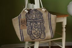 Recycled Burlap Coffee Sack Market Tote Panama by TheGreenBeanBag, $40.00 . . . Burlap bags are great, too!