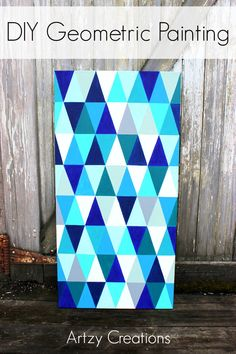 Make this gorgeous DIY Geometric Painting with FREE template and step by step instructions.  Painting made easy!