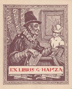 Lhota, Josef (1895-1982): Ex Libris G. Hamza. Männliche Halbfigur in spanischer Hoftracht, Buch haltend und Merkur-Büste betrachtend.
