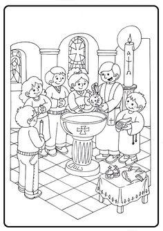 Catholic Baptism, Catholic Kids, Sunday School Activities, Sunday School Crafts, Baptism Craft, 7 Sacraments, Sunday School Coloring Pages, Bible Story Crafts, Religion Catolica