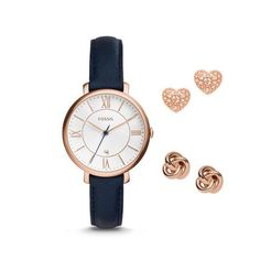 Fossil Women Jacqueline Three-Hand Date Blue Leather Watch And Earrings Box Set - One size Fossil Jacqueline Watch, Earring Box, Fossil Watches, Women's Watches, Casual Watches, Ladies Boutique, Jewelry Watches, Fossil Jewelry, Accessories