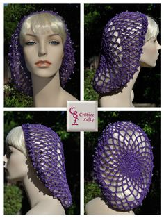 Medieval Renaissance or Victorian Purple Snood with Silver Beads by Cr8tiveLefty on Etsy. $20.00 + shipping. Handmade in the U.S.A.