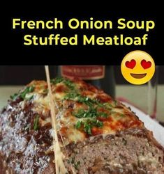 Classic meatloaf may have been the top in ideas of comfort food, but our French onion variant takes it to a whole different extreme. This ... Hamburger Meat Recipes, Meatloaf Recipes, Beef Recipes, Seafood Recipes, Seafood Bisque, Best Meatloaf, Soup Appetizers, Onion Soup, Potato Soup