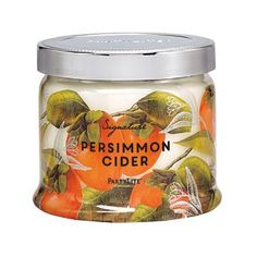 Persimmon Cider, where splashes of sweet mandarin and juicy persimmon are blended with classic apple and a hint of cinnamon bark for a classic Fall moment. Burn time: 25-45 hours. $27.00 each  http://partylite.biz/legacy/sites/juliehoyman/productcatalog?page=productdetail&name=Persimmon+Cider+3-Wick+Jar+Candle&sku=G73938&categoryId=58969&showCrumbs=true