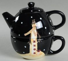 Certified Int Corp Midnight Snowman Individual Teapot & Lid with Cup