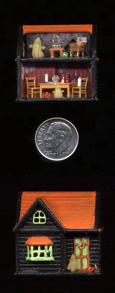 Itsy Bitsy Haunted House 1/144 scale dollhouse by Sheila A. Nielson