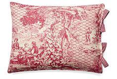 Toile 12x16 Cotton Pillow, Rose on OneKingsLane.com