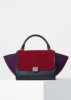 Small Trapeze Handbag in Multicolour Suede - Céline