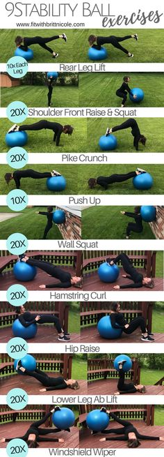 9 Stability Ball Exercises! This is an at home workout or a gym workout! A great full body workout!