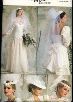 UNCUT 1980s Vogue 9822 Pattern 4 styles of Wedding Veils 1 Headpiece #1980sFashions #1980sWeddings #WeddingSewingPatterns