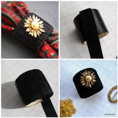 Step by step how to make DIY Grosgrain Ribbon Napkin Rings with vintage jewelry embellishments