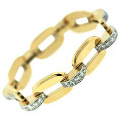 Cartier Paris Diamond Gold Link Bracelet | From a unique collection of vintage link bracelets at https://www.1stdibs.com/jewelry/bracelets/link-bracelets/