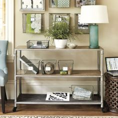 industrial console table [silver frame, distressed plank shelves]