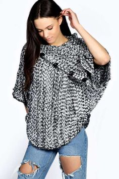 Isabella Button Poncho at boohoo.com