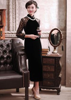 $162.50  Black Ankle Length Qipao Improved Chinese Velvet Lace Cheongsam Dress