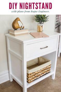 DIY nightstand, DIY bedside table, Cooper nightstand, nightstand with one drawer Nightstand Plans, White Nightstand, Woodworking Nightstand, Diy Furniture Plans, Home Furniture, Bedroom Furniture, Furniture Design, Diy Table, My New Room