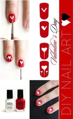 Valentines Day heart Nails www.finditforwedd... Nail Art