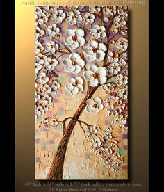 "Oil Tree Painitng 48 x 24"" Modern Abstract  Oil Painting Modern Palette Knife Oil Cherry Blossom Landscape by Paula on Etsy, $400.00"