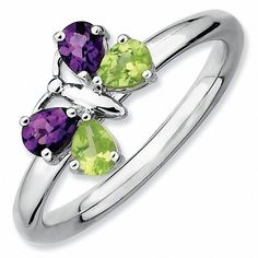 "Zales Stackable Expressionsâ""¢ Amethyst and Peridot Butterfly Ring in Sterling Silver"